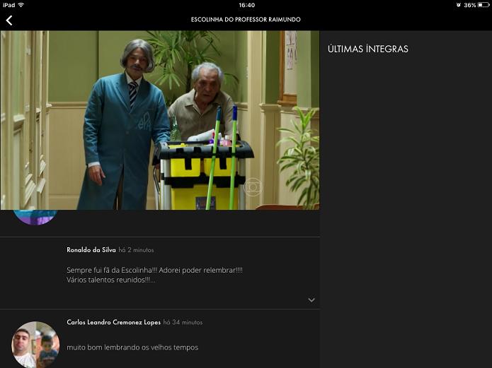 Globo Play traz interatividade com comentários de internautas e compartilhamento em redes sociais (Foto: Reprodução/Elson de Souza)