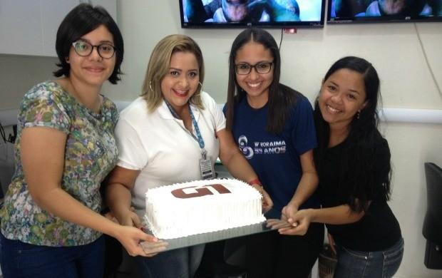 A equipe do G1 e do Globoesporte.com comemoraram a data (Foto: Cecília Siqueira/TV Roraima)
