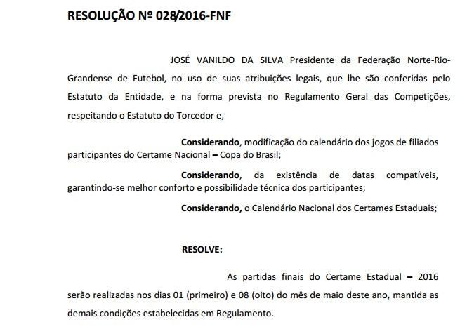 Resolução finais FNF Campeonato Potiguar