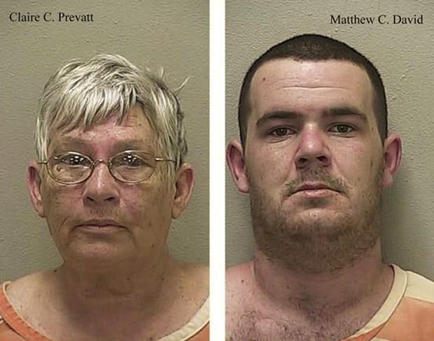 Claire Prevatt e Matthew Christopher roubaram itens do vizinho de mais de 20 anos de convivência (Foto: Divulgação/Marion County Sheriff's Office)