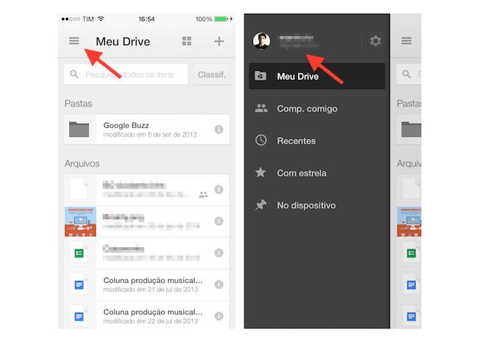 Acessando as configurações de uma conta do Google Drive no iPhone (Foto: Reprodução/Marvin Costa)