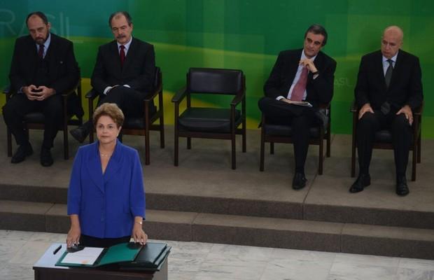 Presidenta Dilma Rousseff durante cerimônia de lançamento do Pacote Anticorrupção (Foto: (José Cruz/Agência Brasil))
