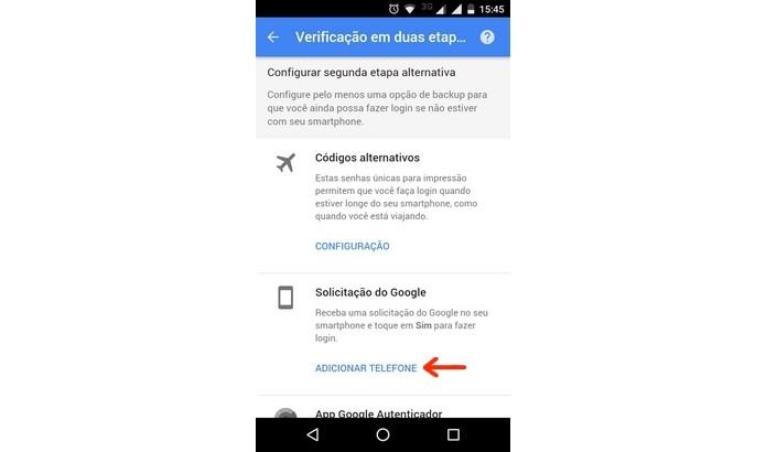 Solicitação do Google, novo método de verificação em duas etapas (Foto: Reprodução/Raquel Freire)