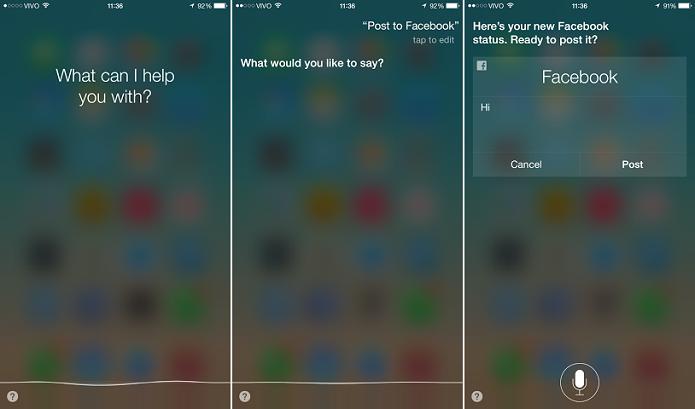 Siri pode ser utilizada para postar via iOS (Foto: Reprodução/Aline Jesus)