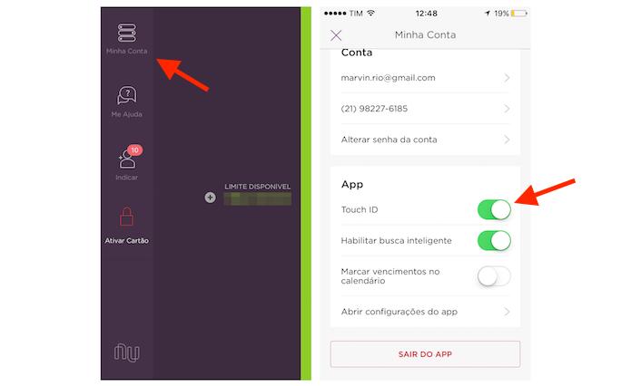 Ativando o bloqueio por Touch ID do Nubank no iPhone (Foto: Reprodução/Marvin Costa)