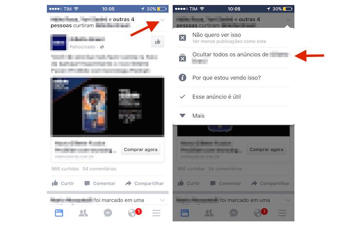 Acessando a função que oculta anúncios no Facebook pelo iPhone (Foto: Reprodução/Marvin Costa)