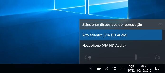 Mudando o dispositivo de reprodução/gravação de áudio no Windows 10 (Foto: Reprodução/Edivaldo Brito)