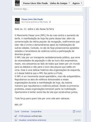 MPL no Facebook (Foto: Reprodução / perfil do MPL no Facebook)