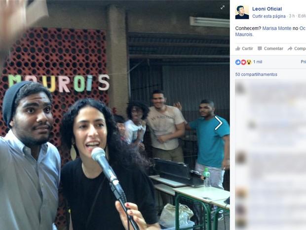 Leoni postou foto de Marisa Monte cantando em colégio ocupado no Leblon (Foto: Reprodução/Facebook)
