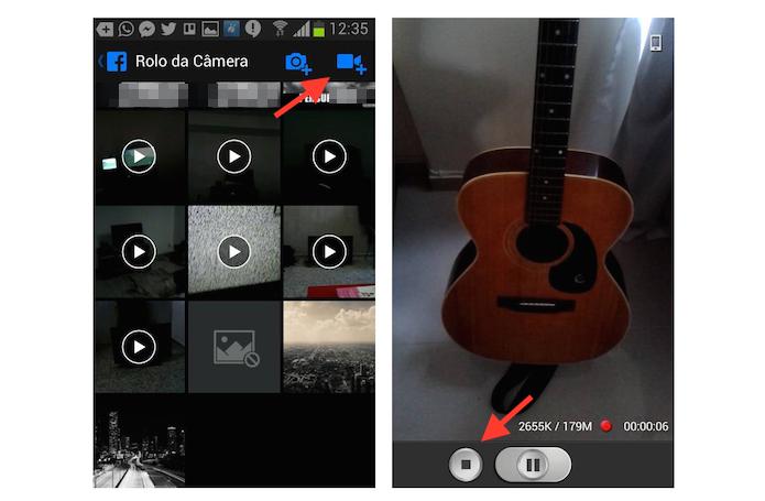 Gravando um vídeo em um dispositivo Android através do aplicativo do Facebook (Foto: Reprodução/Marvin Costa)