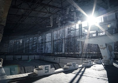 A piscina chegou a ser usada após a explosão do reator (Foto: Guilber Hidaka/Bufalos)