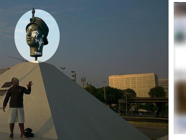 Detalhe da estátua de Zumbi pichada (Foto: Reprodução / Facebook)
