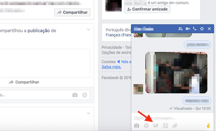 Acessando a ferramenta de GIF do bate papo do Facebook (Foto: Reprodução/Marvin Costa)