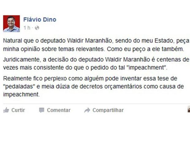 Governador do MA usa as redes sociais para se posicionar sovre decisão de Waldir Maranhão (Foto: Reprodução)