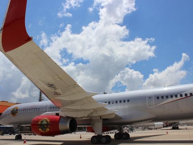 O Boeing 757-200 da banda norte-americana Guns N' Roses (Foto: Divulgação / Viracopos)