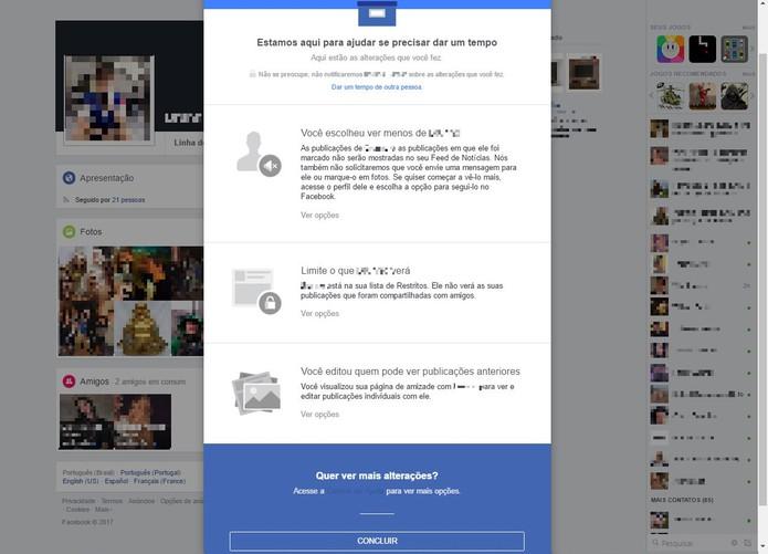 Veja posts que vocês têm em comum e depois confirme em Concluir (Foto: Reprodução/Isabela Giantomaso)