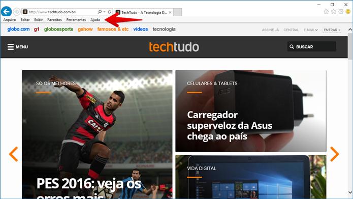 Acesse o menu Ajuda do Internet Explorer (Foto: Felipe Alencar/TechTudo)