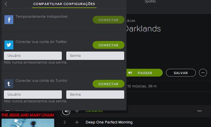 Configurando o Facebook, Twitter e Tumblr no Spotify (Foto: Reprodução/Marvin Costa)