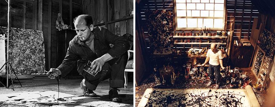 O pintor expressionista Jackson Pollock trabalhando em seu estúdio. (Foto: Reprodução)