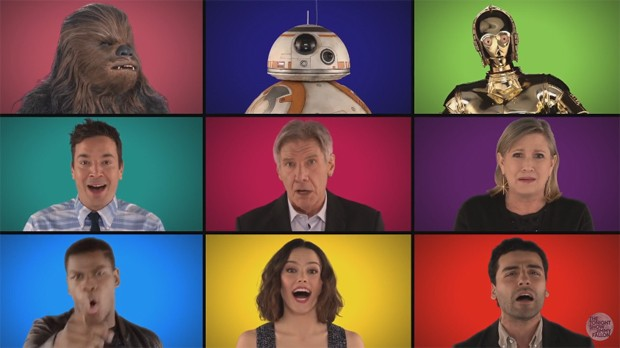 Elenco de 'Star Wars: O despertar da força' participa do 'Tonight Show Starring Jimmy Fallon' (Foto: Reprodução/YouTube)