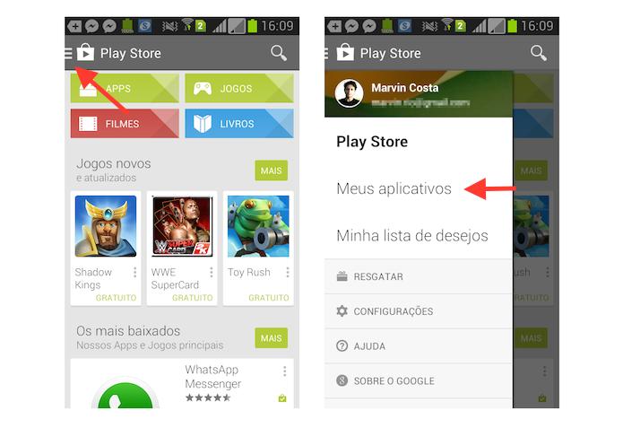 Acessando a sessão Meus Aplicativos da Google Play no Android (Foto: Reprodução/Marvin Costa)