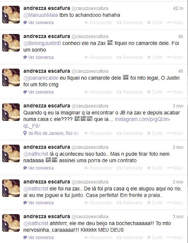 As mensagens de Andrezza no Twitter (Foto: Reprodução)