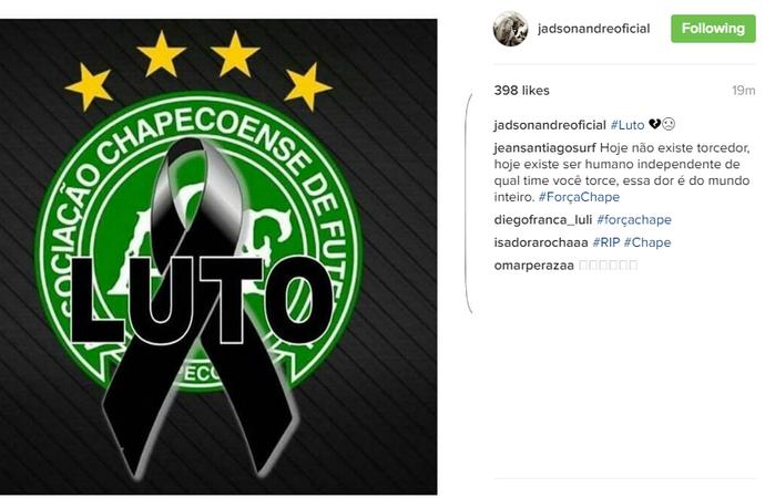 Jadson André fez homenagem à Chapecoense (Foto: Reprodução Instagram)