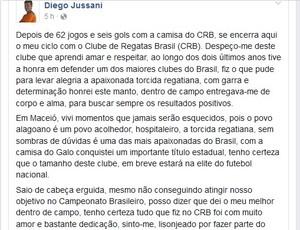 Diego Jussani informa saída do CRB em rede social (Foto: Reprodução/Facebook)