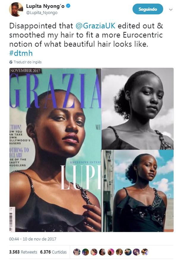 Lupita Nyong'o ficou careca após alterações digitais em capa de revista (Foto: Reprodução/Twitter)