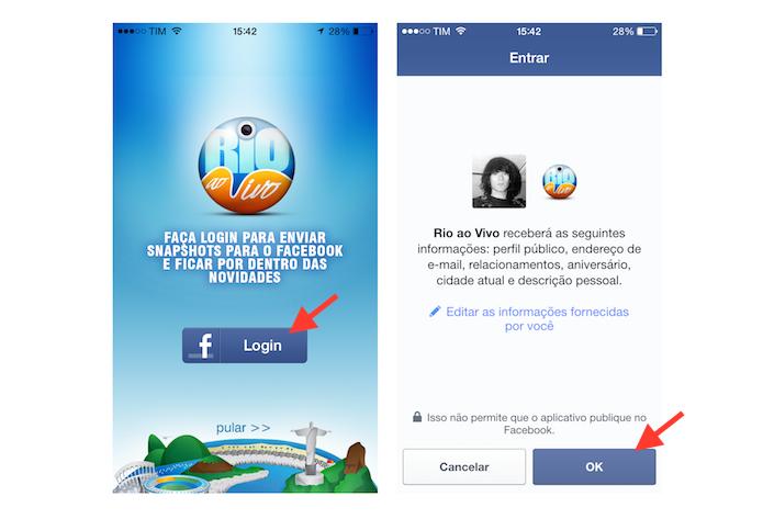 Vinculando uma conta do Facebook ao aplicativo Rio ao Vivo (Foto: Reprodução/Marvin Costa)