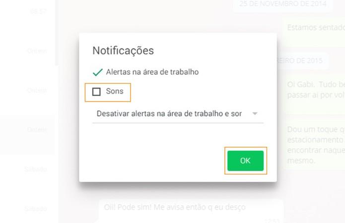 É possível desativar os sons de forma definitiva no WhatsApp web desmarcando a caixa de texto (Foto: Reprodução/Barbara Mannara)