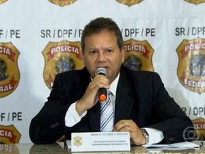 Superintendente da PF em Pernambuco, Marcello Diniz Cordeiro, passou detalhes em coletiva nesta quarta (Foto: Reprodução / TV Globo)