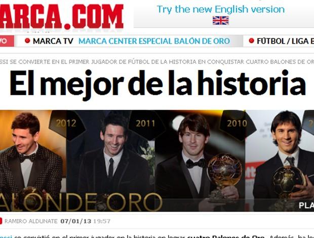 marca jornal fifa bola de ouro melhor do mundo (Foto: Reprodução/Marca)