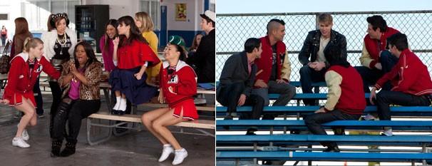 Glee - Mercedes e Sam contam aos amigos sobre o seu casinho de verão nem no estilo de 'Grease' (Foto: Divulgação / Twentieth Century Fox)