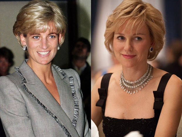 A princesa Diana durante visita ao hospital St. Mary, em 1997, e Naomi Watts em 'Diana' (Foto: Justin Goff/UK Press via Getty Images/Divulgação)