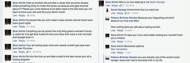 Um dos defensores de Hall ameaça as amigas de Melville de estupro  (Foto: Reprodução/Facebook/Paloma Brierley Newton)