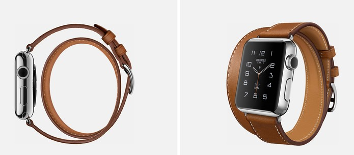 6cb7c74cb09 Modelo do Apple Watch com a Hermès com pulseira dupla (Foto   Divulgação Apple