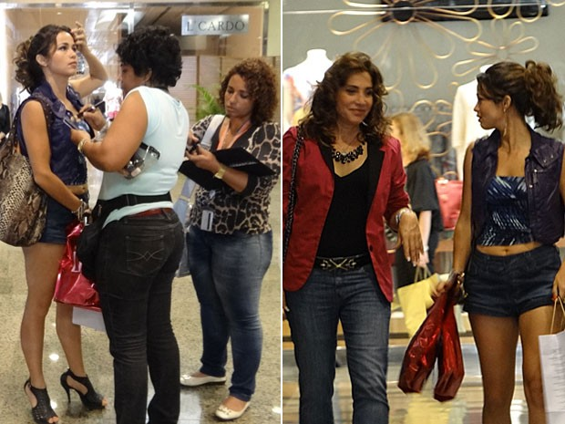 Nanda Costa recebe os retoques finais da maquiagem e em seguida grava cena (Foto: Salve Jorge / TV Globo)