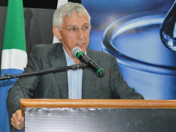 Presidente da Fundação MS, Luiz Alberto Moraes Novaes, em evento sobre ILP da Embrapa (Foto: Anderson Viegas/Do G1 MS)