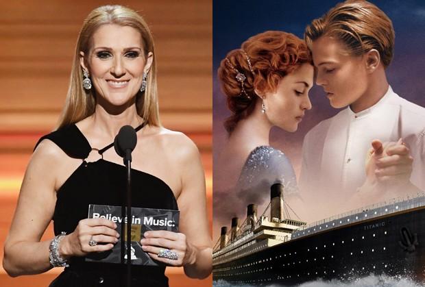 Céline Dion canta 'My Heart Will Go On', tema de 'Titanic' (Foto: Getty Images e Divulgação)