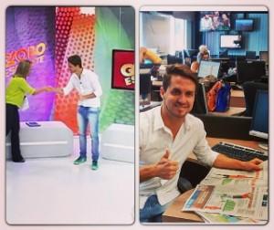 Sávio no Globo Esporte e na redação da RBS TV (Foto: Arquivo pessoal/Suyanne Quevedo)