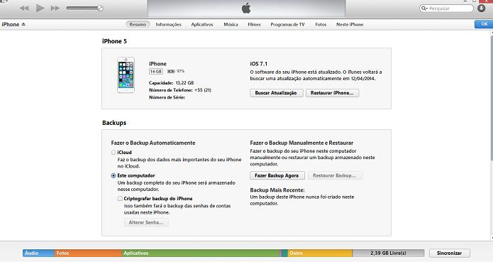 iTunes é usado para transferir arquivos (Foto: Reprodução/Thiago Barros)