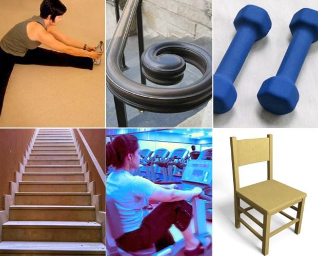 Escada, corrimão, cadeira: use alternativas dentro de casa para se exercitar (Foto: Mais Você / TV Globo)