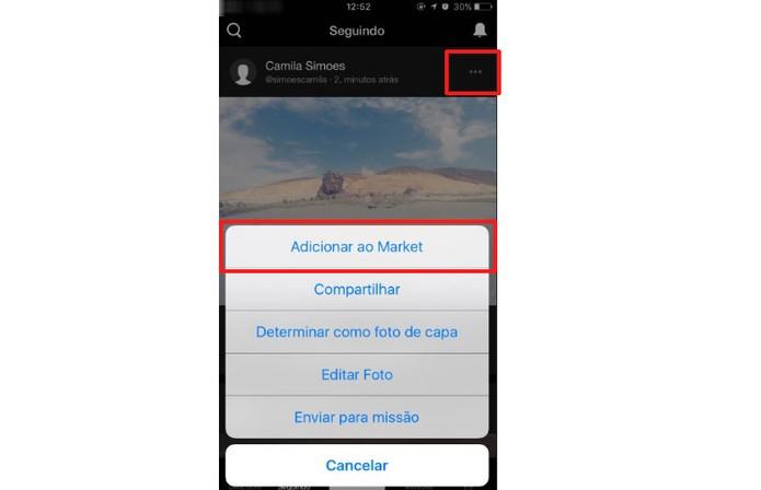 Adicione sua foto para venda no app (Foto: Reprodução/Camila Peres)
