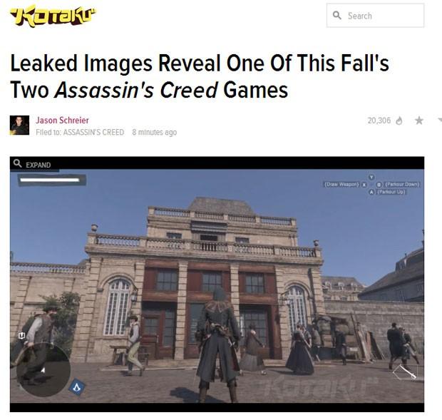 Site 'Kotaku' publica imagem de suposto novo 'Assassin's Creed: Unity' (Foto: Reprodução/Kotaku)