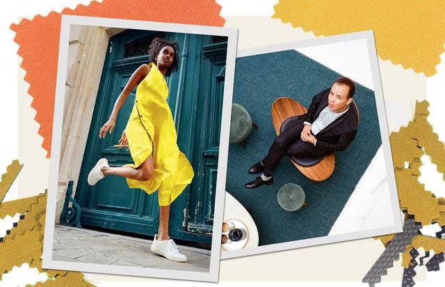 A modelo Farhiya Shire usa o vestido criado pela Welcome e tênis da grife eco franco- -brasileira Vert; ao lado, o afegão Hafiz Ghanbari (Foto: Tinko Czetwertynski)
