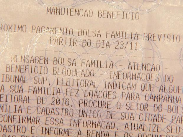 Recibo aponta bloqueio do Bolsa Família de Francine (Foto: Maurício Glauco/EPTV)