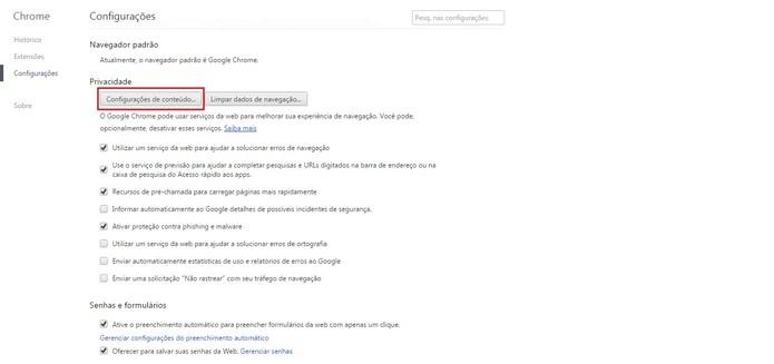 Clique em Configurações de Conteúdo (Foto: Reprodução/Google Chrome)