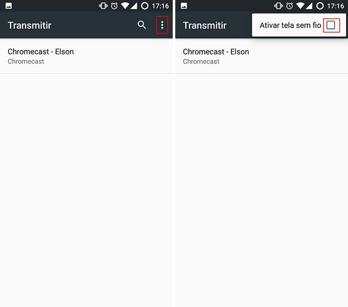 Android pode exigir que usuário habilite tela sem fio para transmitir para o Windows 10 (Foto: Reprodução/Elson de Souza)