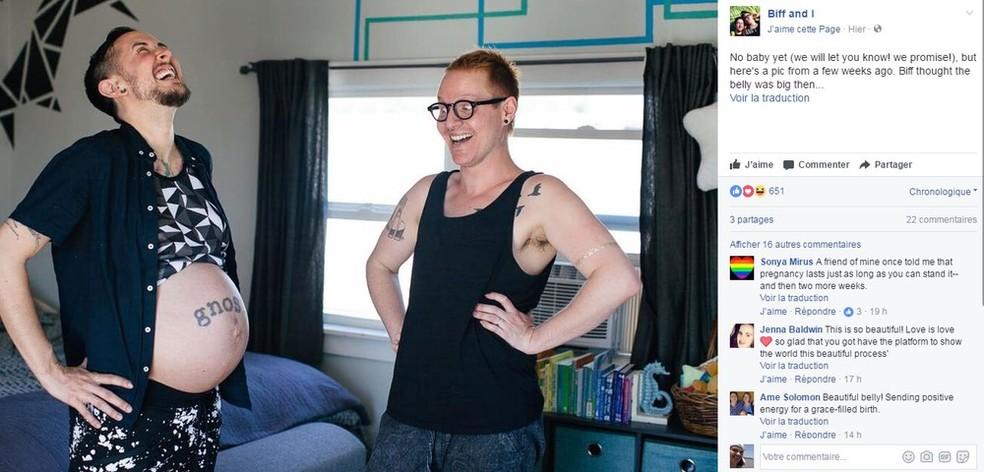 Transgênero e companheiro decidiram ter um filho biológico (Foto: Reprodução/Facebook Biff and I)